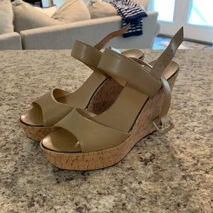 Nude J. Crew Wedges, Size 6